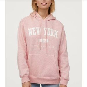 H&M oversized hoodie pink New York size large